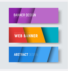 set of horizontal web banners with multi-colored vector image vector image