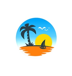 beach sailing boat sunset logo vector image vector image