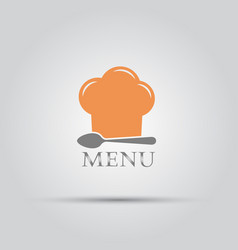 chef hat and spoon isolated menu logo vector image
