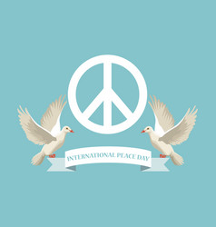 color poster with white peace and love symbol and vector image vector image