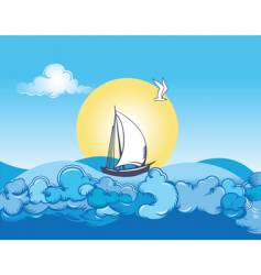 ocean ship and clouds vector image vector image