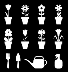 pot flower set black vector image vector image