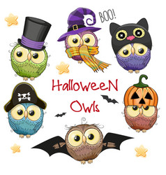 six cute halloween owls vector image