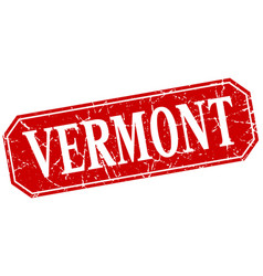 vermont red square grunge retro style sign vector image vector image