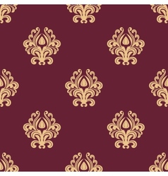 Beige floral seamless pattern on maroon background vector
