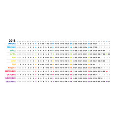 german linear calendar sundays selected vector image vector image