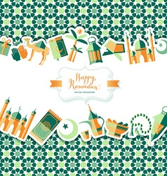 Happy Ramadan icons set of Arabian vector image vector image