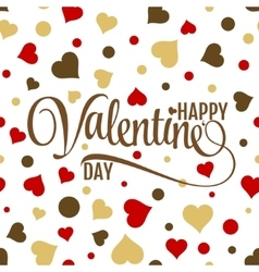 Happy valentines lettering on seamless white vector image