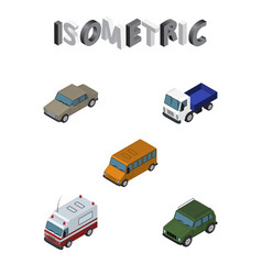 Isometric automobile set of auto first-aid lorry vector