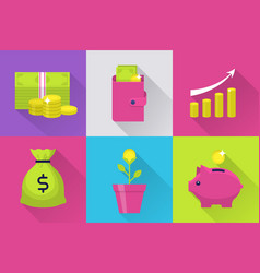 modern icons set with money vector image