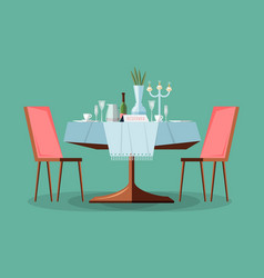 reserved modern restaurant table with tablecloth vector image vector image