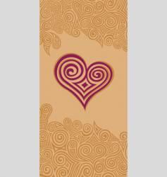 swirly heart vector image