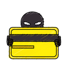 Hacker with credit card avatar character vector