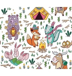 Hand drawn camping seamless pattern with cartoon vector