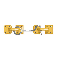 old-fashioned simple metal lock with hook and loop vector image vector image