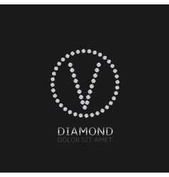 V letter with diamonds vector image vector image