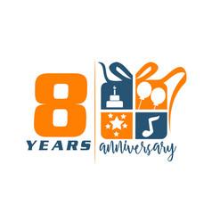 8 years gift box ribbon anniversary vector
