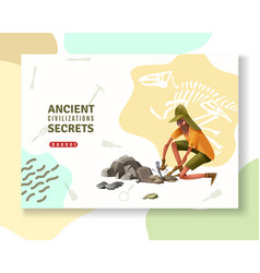 Ancient secrets archeology banner vector