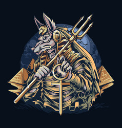 Anubis egyptian god mummies with a view of vector