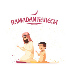 Arab muslims ramadan kareem cartoon vector