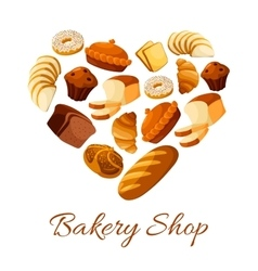 Bakery and pastry bread and donut formed as heart vector