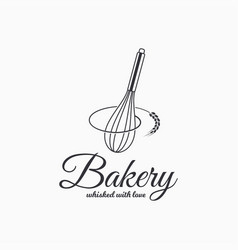 Baking with wire whisk logo bakery concept vector