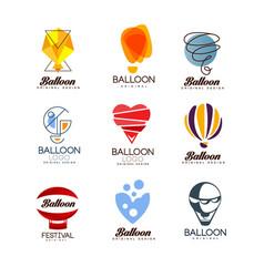 balloon original design set creative logo vector image