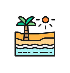 beach with palm tree sea and desert flat color vector image