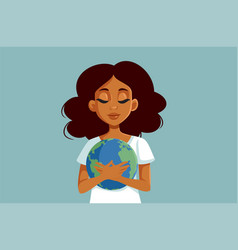 beautiful african woman holding earth planet vector image