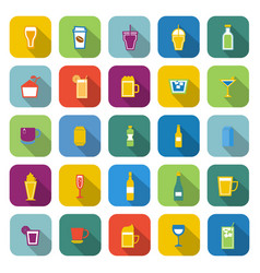 beverage color icons with long shadow vector image