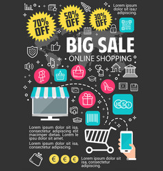 Big sale online shopping poster vector