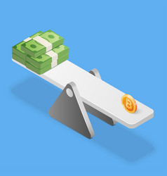 Bitcoin and dollars stack on scales business vector