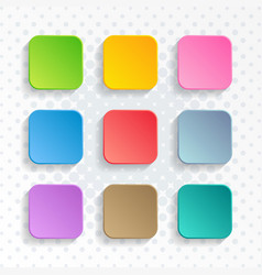 Blank colorful rounded square web buttons vector