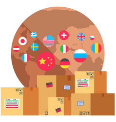 boxes with parcels for international delivery of vector image