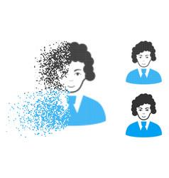 Broken dot halftone clerk woman icon with face vector