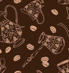 Brown coffee seamless pattern vector image