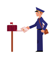 cartoon postman mailman character letter vector image