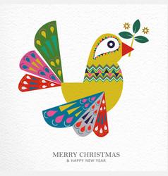 Christmas and new year folk art bird greeting card vector
