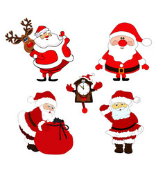 christmas set santa claus and christmas vector image
