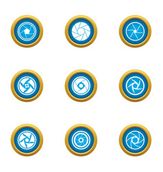 close lens icons set flat style vector image