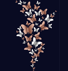 Copper butterfly group on empty background vector