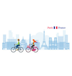 Couple cycling with paris france skyline vector