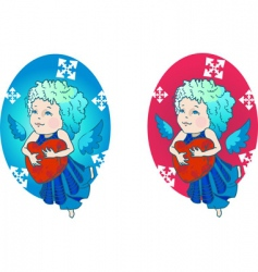 cute angel with red heart vector image