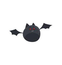 Cute cartoon halloween bat character flying vector