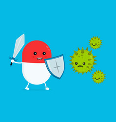 cute happy funny strong pill guardian vector image