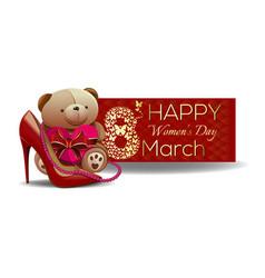 cute teddy bear congratulates beautiful women with vector image