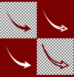 declining arrow sign bordo and white vector image