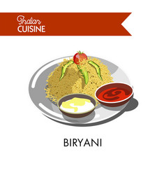 Delicious biryani with creamy and hot sauces on vector