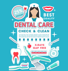 dental clinic discount offer promotion poster vector image