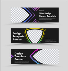 design horizontal black web banners with place vector image